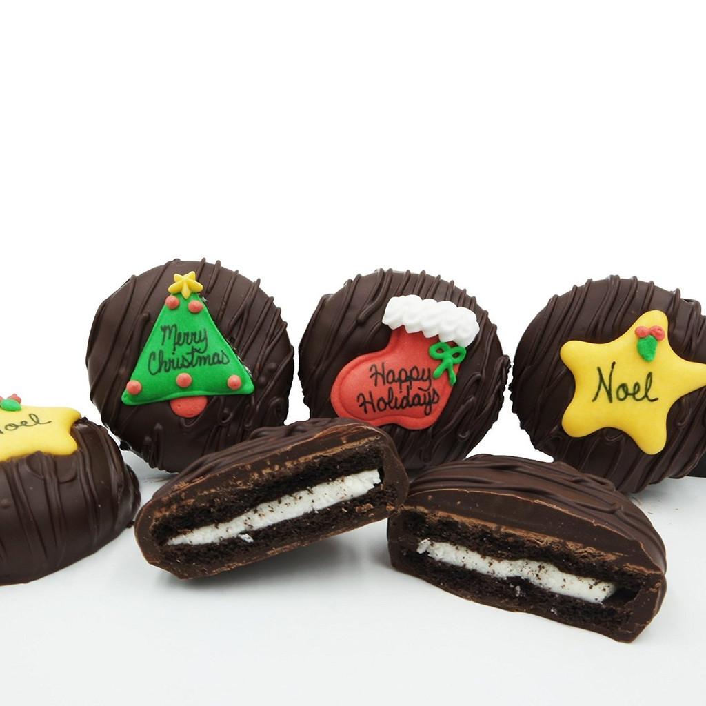 Christmas Greeting Crème Filled Sandwich Cookies, Dark Chocolate