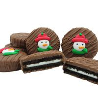 Snowman Face Crème Filled Sandwich Cookies, Milk Chocolate