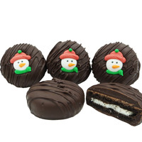 Snowman Face Crème Filled Sandwich Cookies, Dark Chocolate