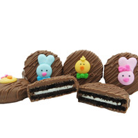 Easter Faces Assortment Crème Filled Sandwich Cookies, Milk Chocolate (Blue Rabbit, Pink Rabbit, Chick, Chicklet)
