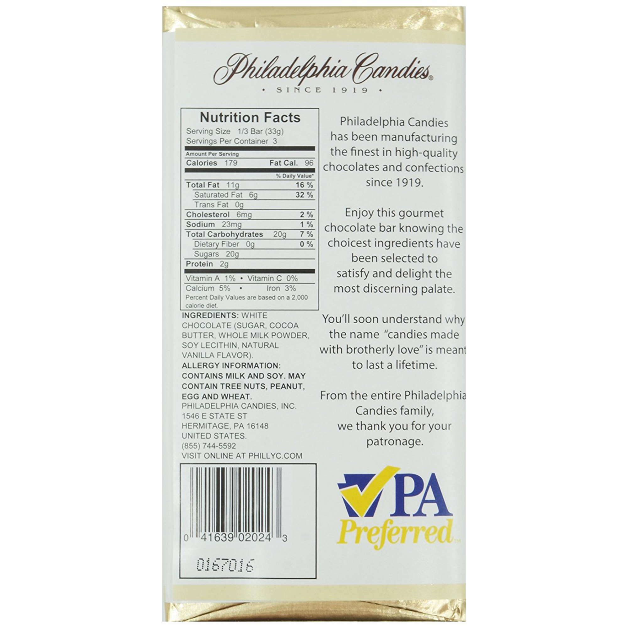 White Chocolate Bar, 3 5 Ounce