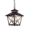 """Chimney Vented 15"""" Hanging Lantern 40174BK in black with seeded glass"""