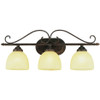 7213ABR 3 Light Handlebar Bath Bar in antique brown rust and champagne swirl glass