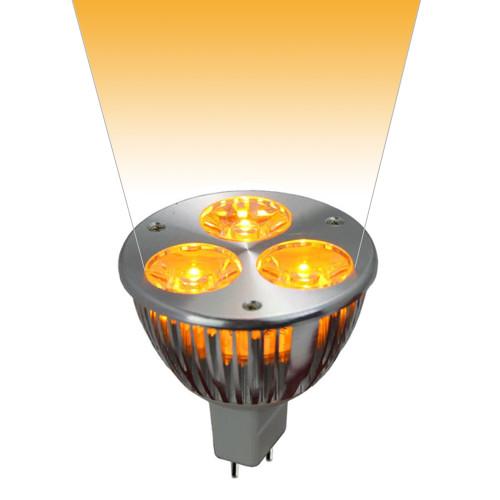 12V 3w Yellow LED MR16 Wide Spot Light Bulb - LED1612V3W-YELLOW-WS