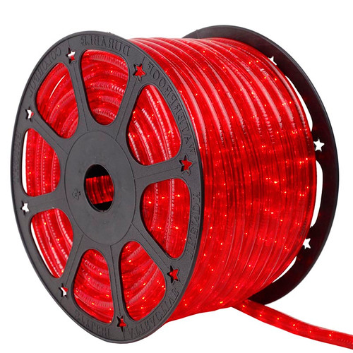 120V 2 Wire Incandescent Red Rope Light - 150 Ft
