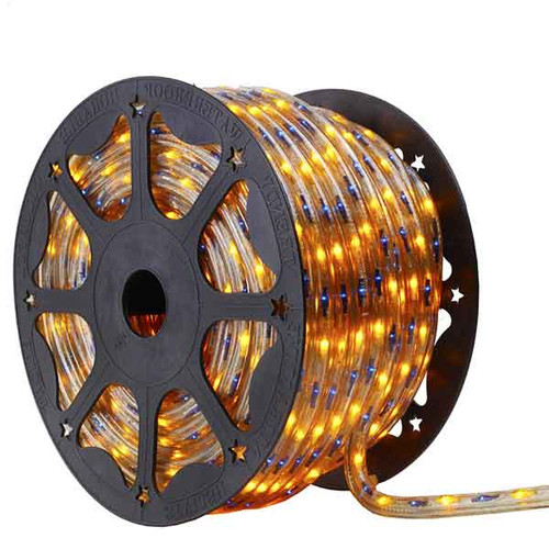 150 Ft 3 Wire Blue and Yellow Bi-Color Incandescent Rope Light Kit - 120V IP65 Waterproof - GK150-BIKIT-BLUEYELLOW