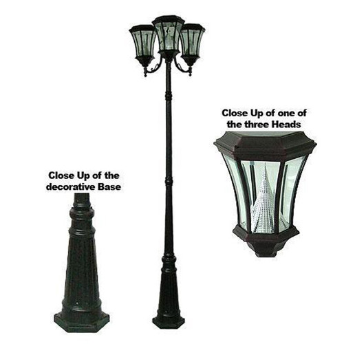 Victorian Solar Triple Head Lamp Post PWGS94T-BK (shown in black)