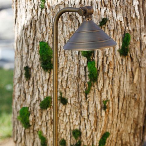LED Circular Shade Brass Pathway Light LED-PPG031 Brozne In Scene