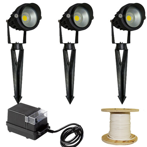 12V 3 Integrated LED Aluminum Spotlight Landscape Lighting Kit