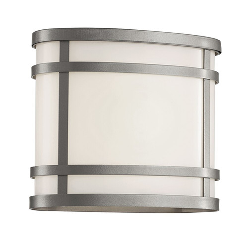 "CityScape Oval 7"" Patio Light 40200 in silver with white acrylic glass"