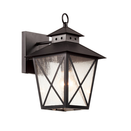 "13"" Chimney Vented Wall Lantern in black finish and clear seeded glass"