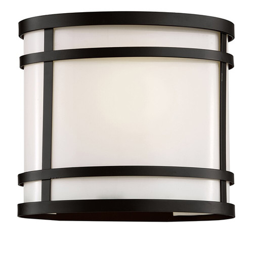 "8"" CityScape Oval Patio Light in black finish and white acrylic glass"