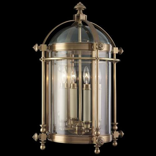 614281ST Portsmouth 4 Light Outdoor Wall Mount in solid antique brass finish and translucent glass