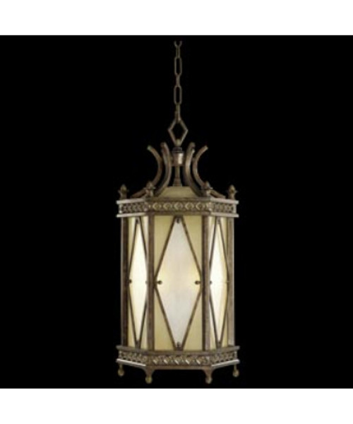 Aspen 6 Light Outdoor Hanging Lantern 573982ST in antique gold finish and silver highlights and etched glass