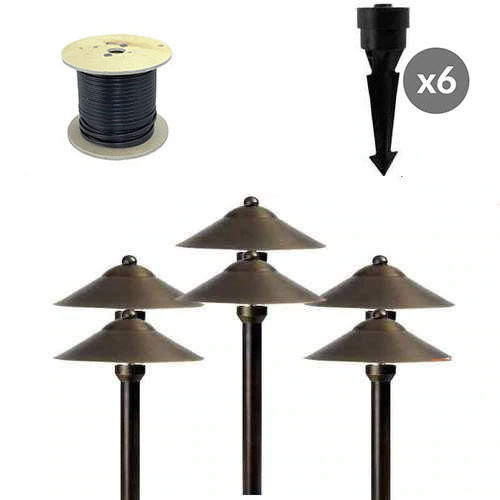 AQLighting LED Pathway Brass Landscape Lighting Kit - 6 Walkway Lights, with Transformer and Direct Burial Cable Included