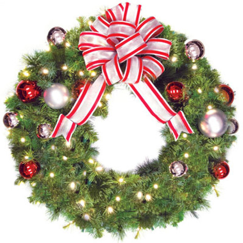 "36"" Red & Silver LED Christmas Wreath with Candy Cane Bow"