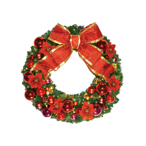 4' Red Poinsettia Holiday Designer Wreath