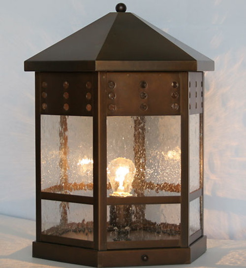XPC-391 Pilaster/Column Light in copper bronze and clear seedy glass