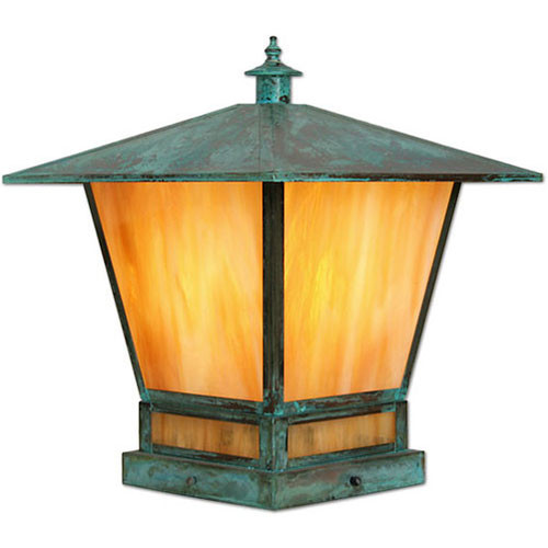 XPC-397 Pilaster Light in verde finish and gold iridescent glass