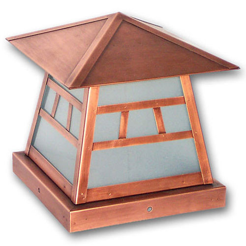 XPC-357 Pilaster Light in rose copper and sand blasted glass