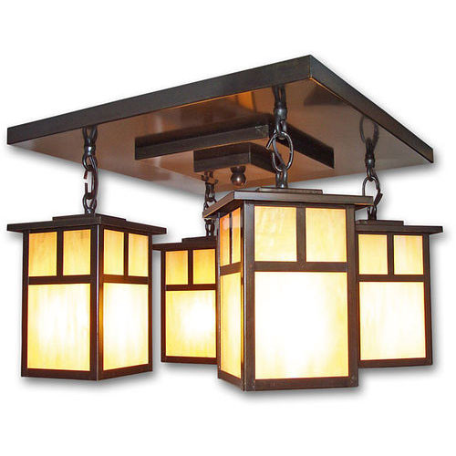 XPC-215 4 Lantern Chandelier shown in old bronze and honey glass