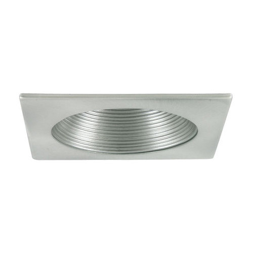 "White 12V 4"" MR16 Square Stepped Baffle Recessed Trim C1478"