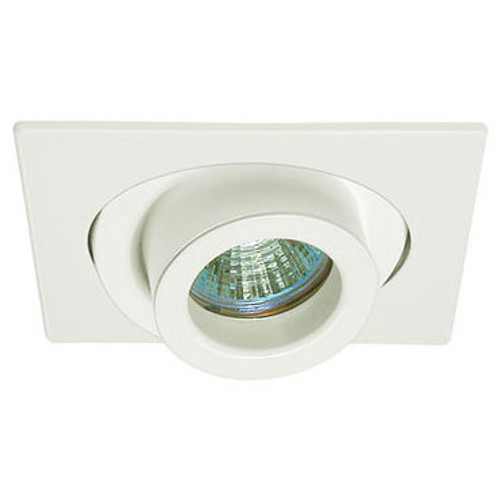 "White 12V 4"" MR16  Adjustable Spot Square Trim C1487"
