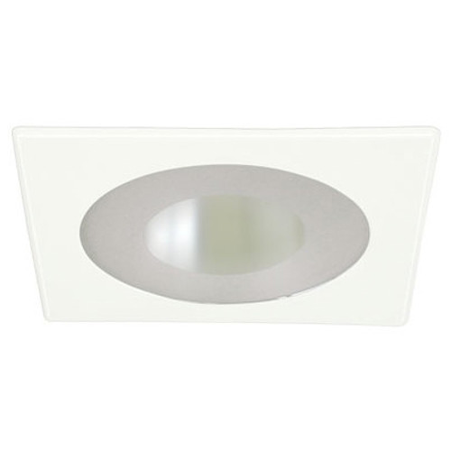 """White 120V 4"""" PAR20 Recessed Square Trim w/ Frosted Lens and Reflector C444"""