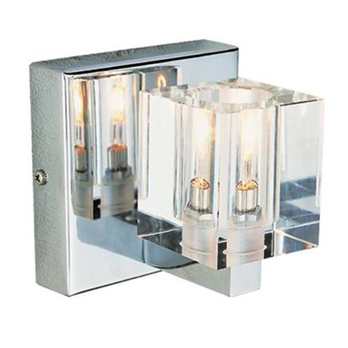 1 Light Chrome Crystal Halogen Bath Sconce 2841PC