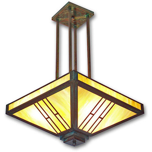 XPC-214 Chandelier Light shown in polished verde and honey glass