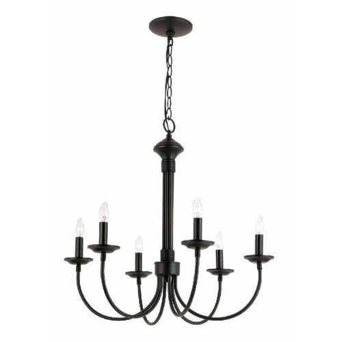 Colonial Candles 6 Light Chandelier in black