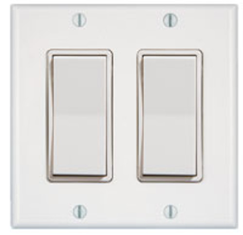 2 Gang 2 Rocker Wireless Light Switch (shown in white)
