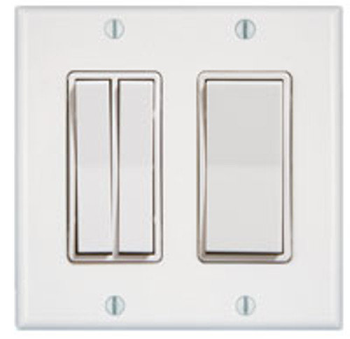 2 Gang 3 Rocker Wireless Light Switch (shown in white)