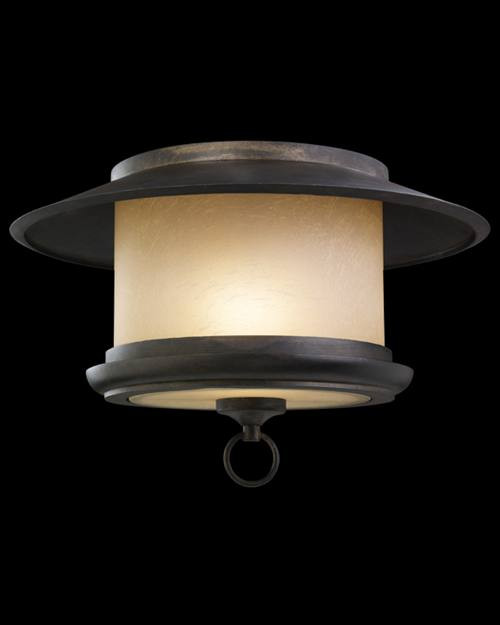 539782ST East-West Passage 1 Light Outdoor Flush Mount in aged ebony and creamy vanilla glass