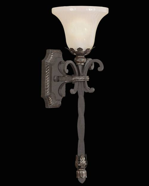 402881ST Chateau 1 Light Outdoor Wall Sconce in umber patina finish with antiqued glass