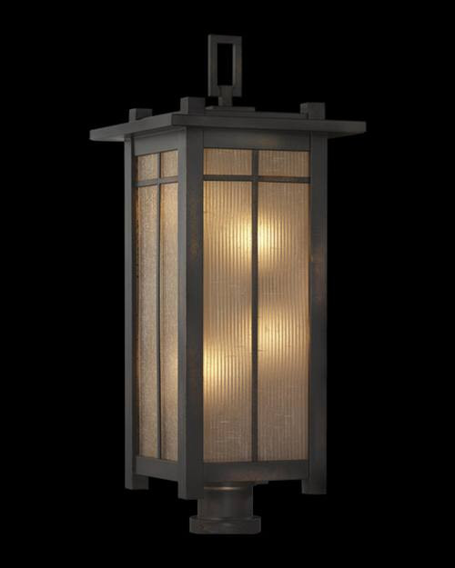 541580ST Capistrano 6 Light Outdoor Post Mount in warm bronze patina finish and striated champagne linen glass