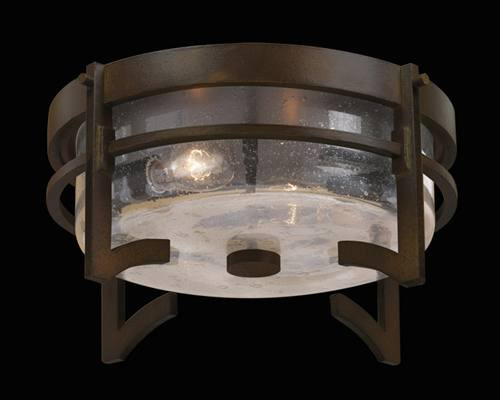 4134825ST Aspen 2 Light Outdoor Flush Mount in dark roan patina finish and hand blown clear seedy glass