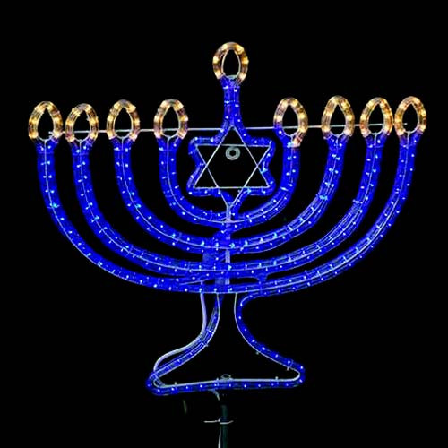 120V Blue LED Rope Light Menorah Motif Kit - AQL-LED-120V-2W-MENO-KIT