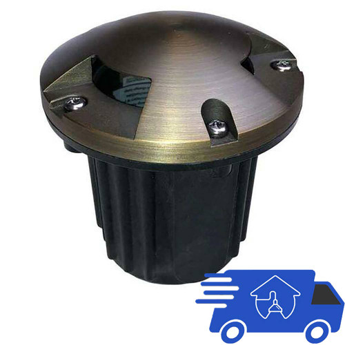 """12V 5"""" Composite In Ground Well Light w/ Brass Tri-Directional Cover - PGC5B-TRI"""
