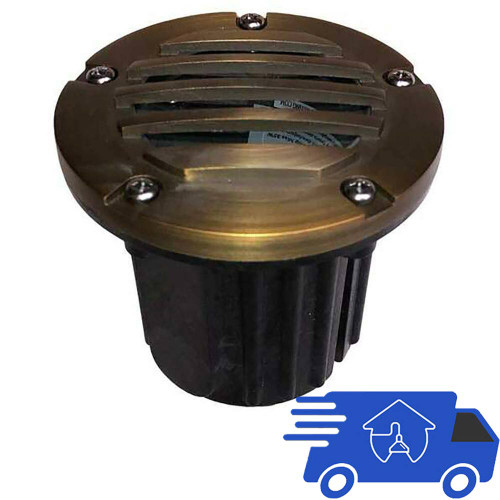 """12V 5"""" Composite In Ground Well Light w/ Brass Curved Grill Cover - PGC5B-CGRL"""
