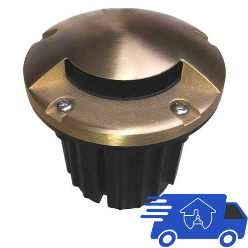 """12V 5"""" Composite In Ground Well Light w/ Brass Mono Directional Cover - PGC5B-MONO"""