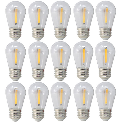 120V 1.5w Vintage Style LED Warm White S14 Light Bulb - 15 Pack - BS14-ZY-1.5-27K/15