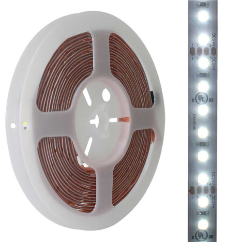 24V High Output Dimmable Cool White SMD2835 Waterproof LED Tape Light - 16.4' Spool - AQOL-2835FH-12024-14.4-CW