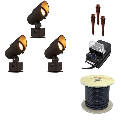DIY Pro Pack Integrated LED Adjustable Spotlight, Heavy Duty, 12V Low Voltage, Landscape Lighting 3pcs - SP-AP-3KIT
