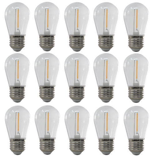 120V 1w Vintage LED 2700K Warm White S14 Light Bulbs - 11w Equivalent - 17 Pack - ZY-S14-120V-LED/17