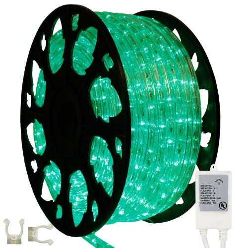 145ft green led chasing rope light kit aqlighting. Black Bedroom Furniture Sets. Home Design Ideas