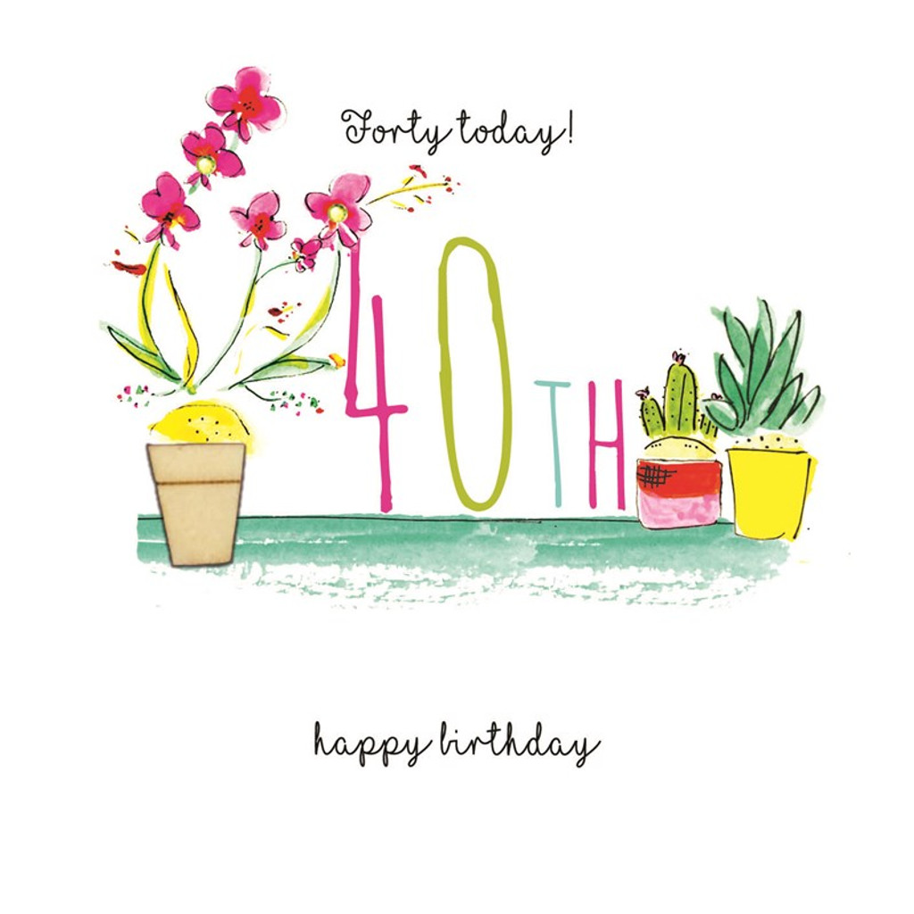 Hand Finished 40th Floral Birthday Card | Laura Sherratt
