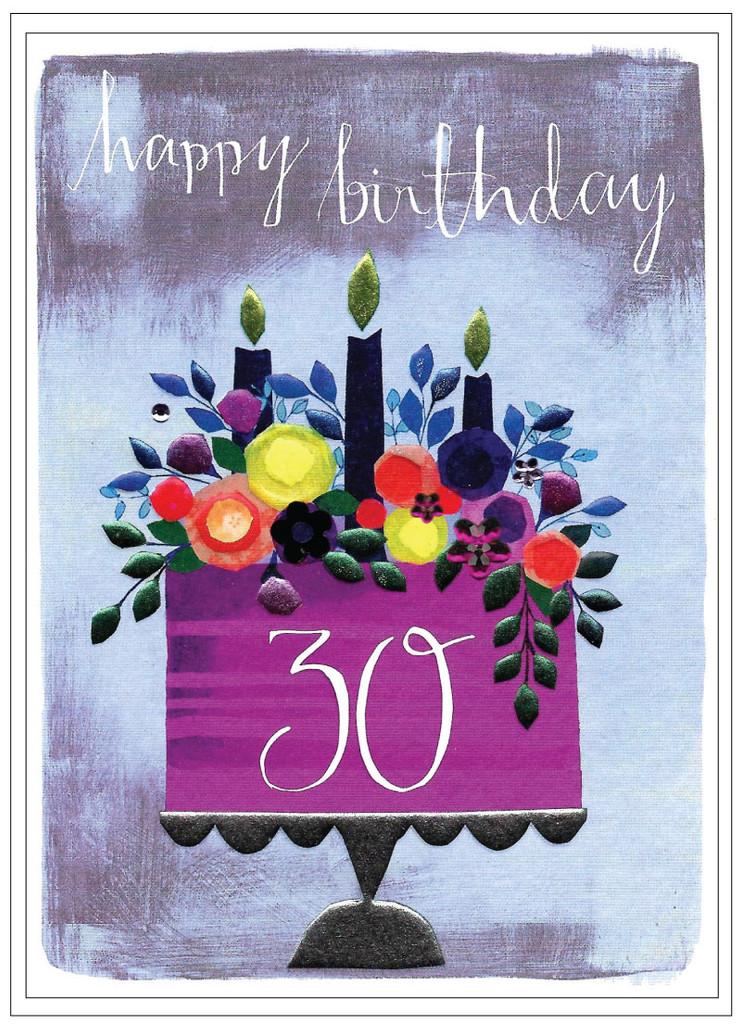 Cute 30th Birthday Flower Greeting Card  - Cinnamon Aitch