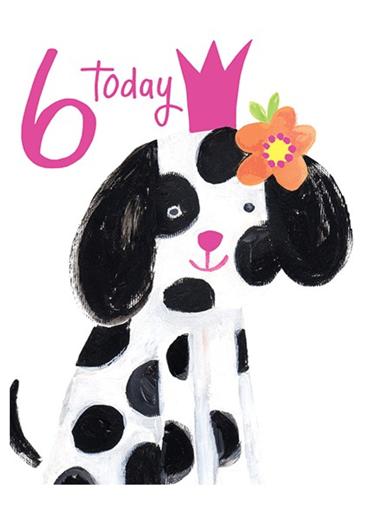 Spotty Dog Age 6 Greeting Card   Paper Salad