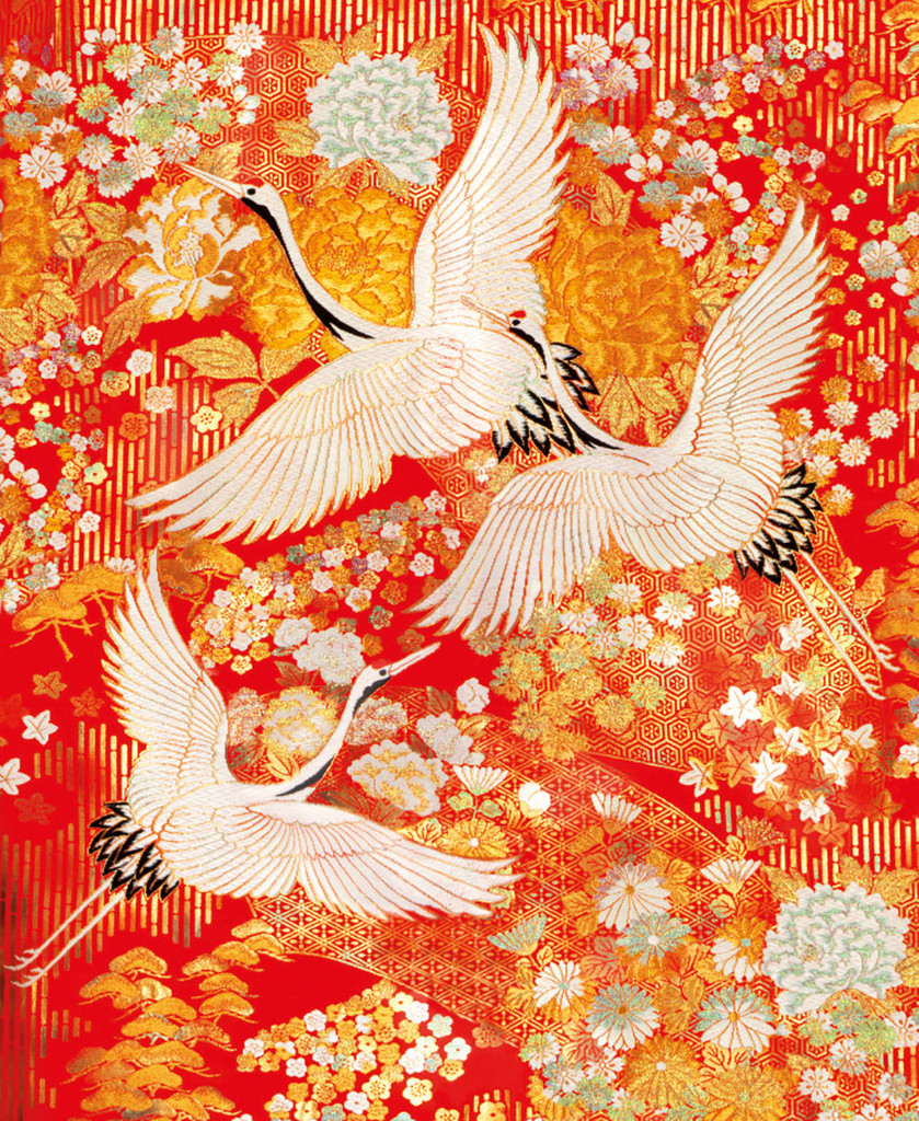 V &A detail from a wedding outer-kimono (uchikake) Woven Silk   Museum & Galleries
